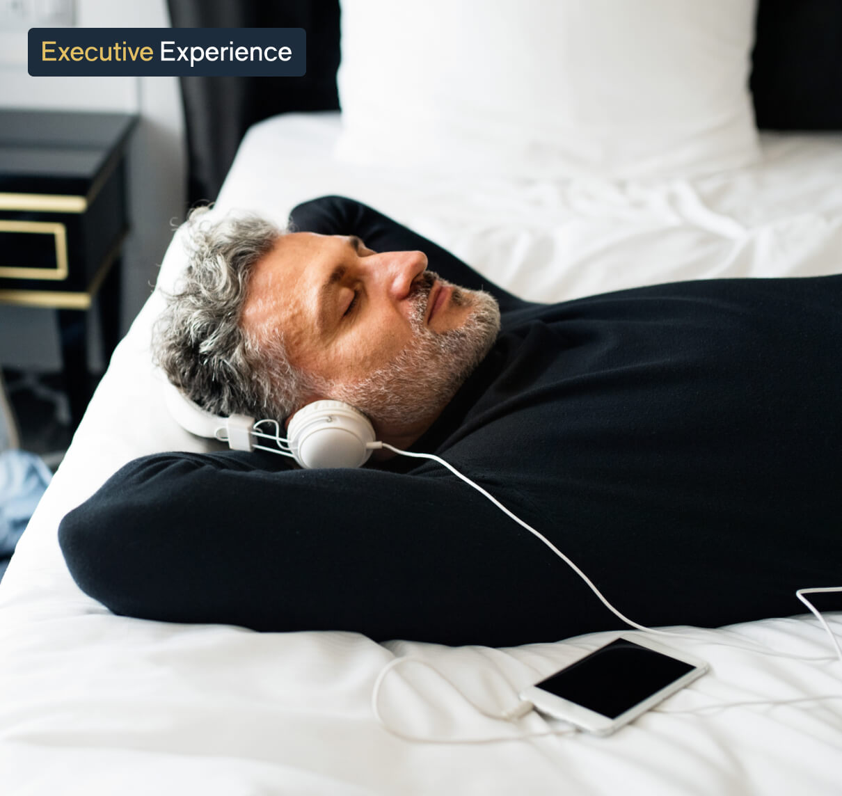 Man resting with headphones