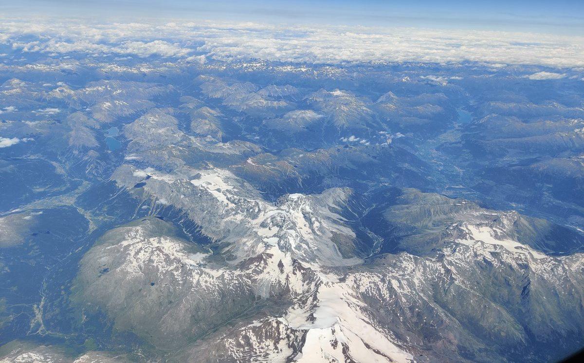 Birds eye view mountains