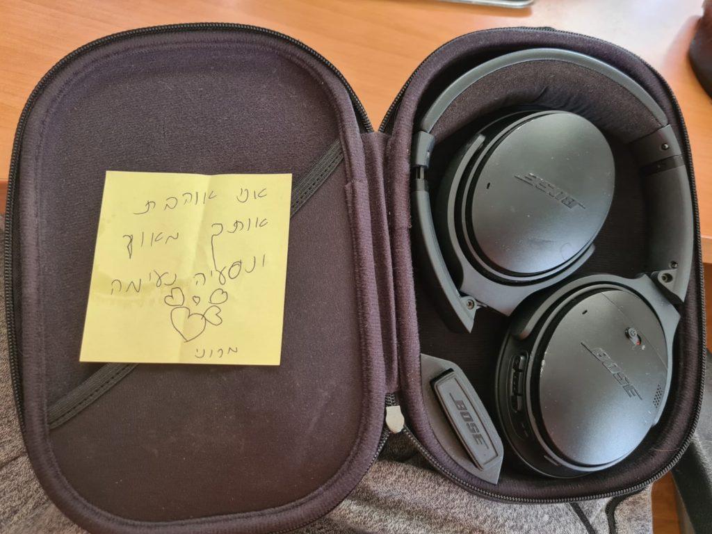 Child's note inside headphones box