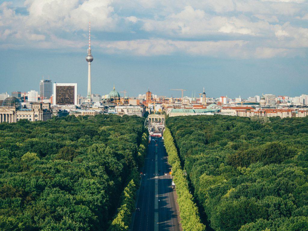 Berlin skyline with greenery