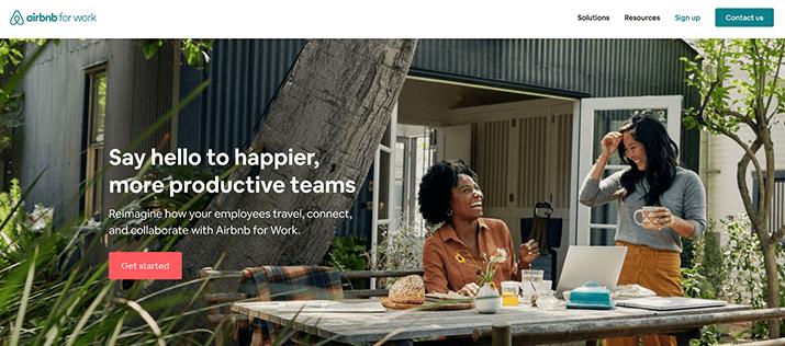 Airbnb for work header screenshot