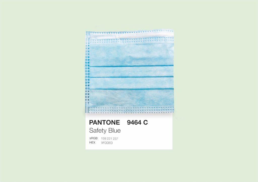 Safety blue mask pantone