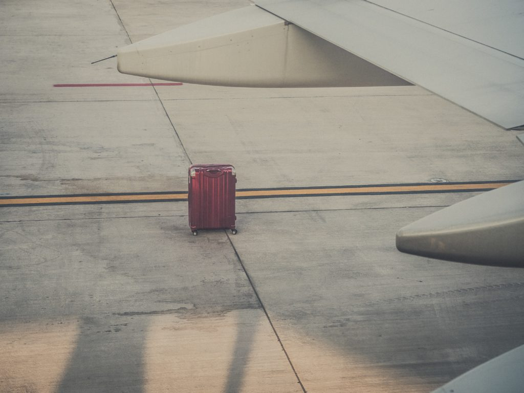 suitcase on a runway