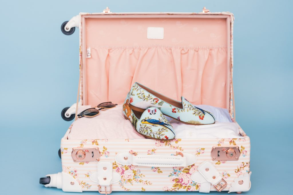 Girly pink and blue suitcase