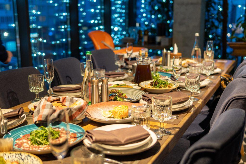 Table set for large dinner
