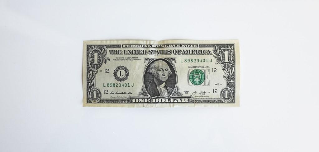 Dollar on white background