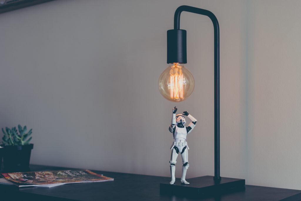 Storm trooper taking on a lamp