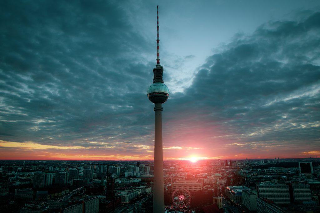 Berlin TV tower sunset