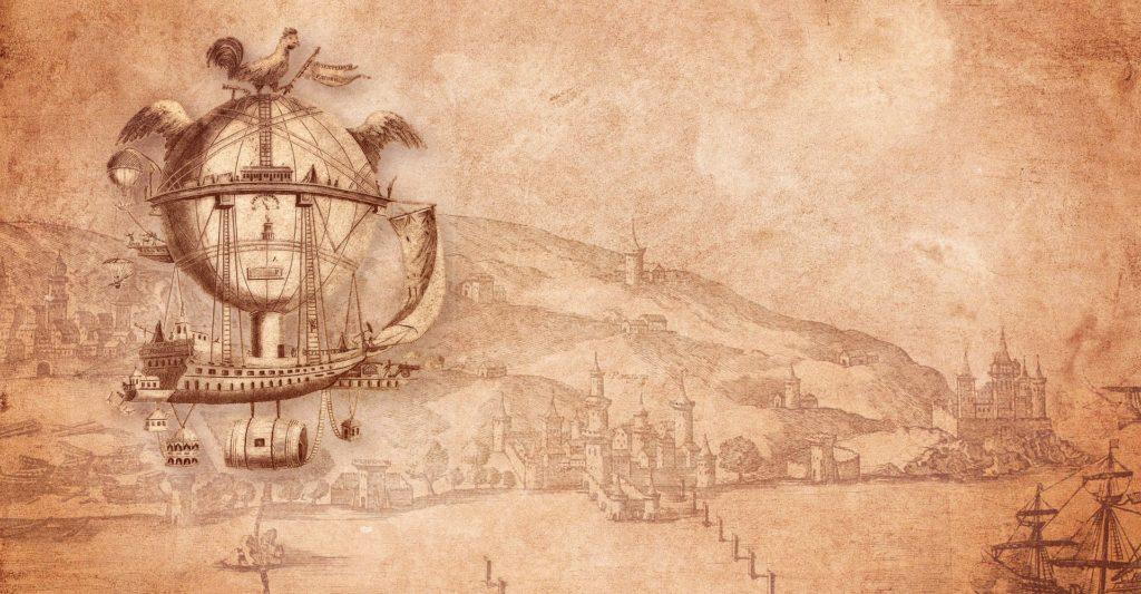 Drawing of a cool airship