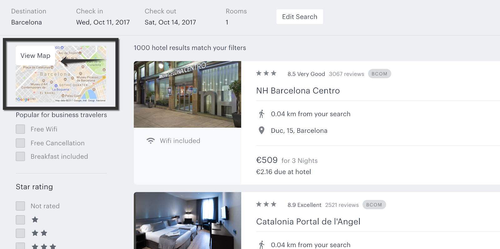 TravelPerk: better hotel map search