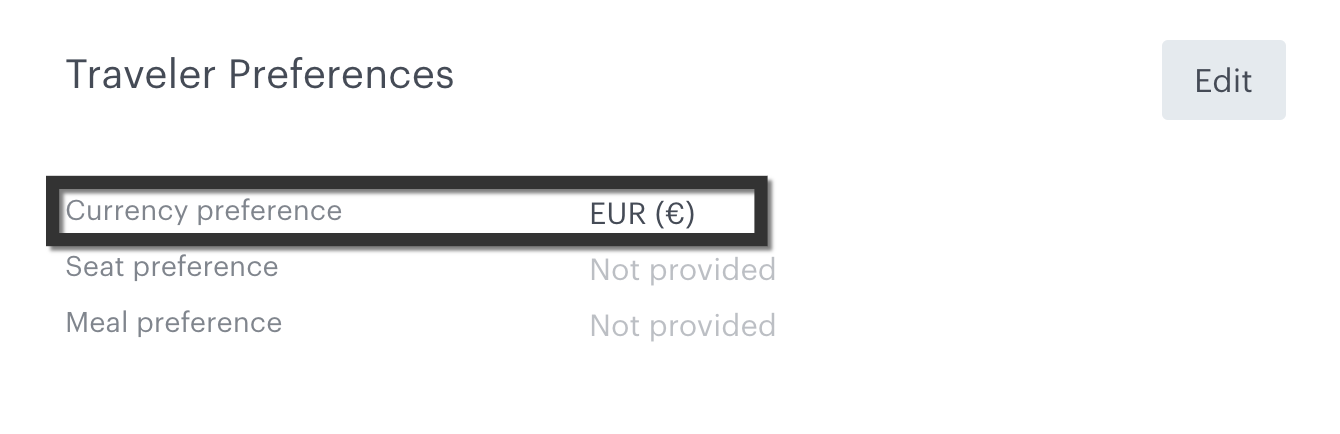 TravelPerk: Select your currency