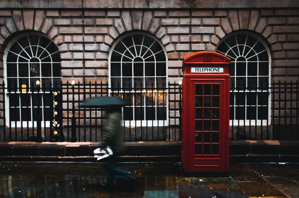 Rainy London phonebooth