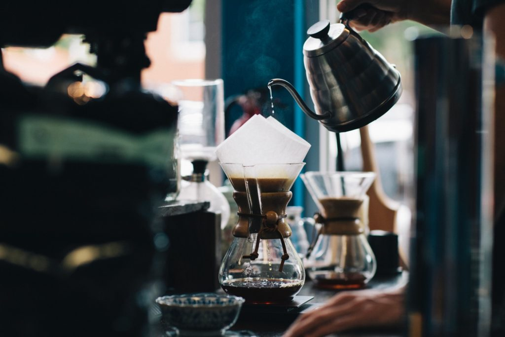 Cool coffee being poured