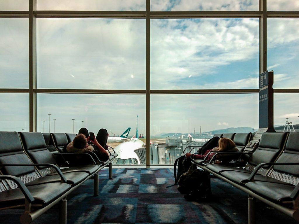 Airport terminal passengers