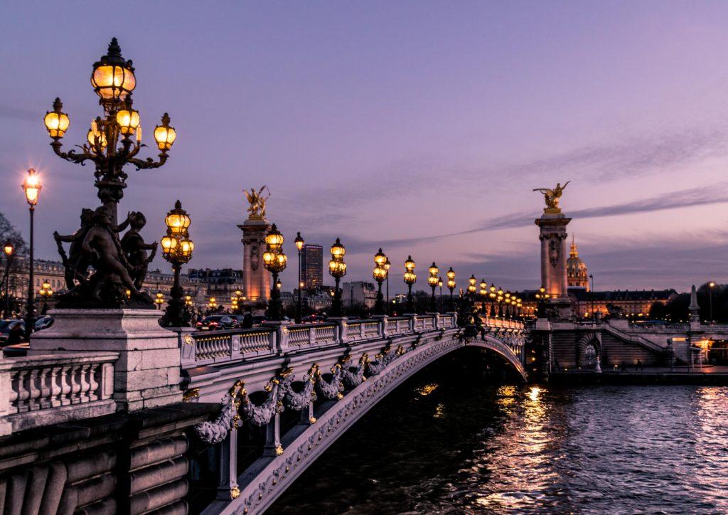 Paris bridge evening