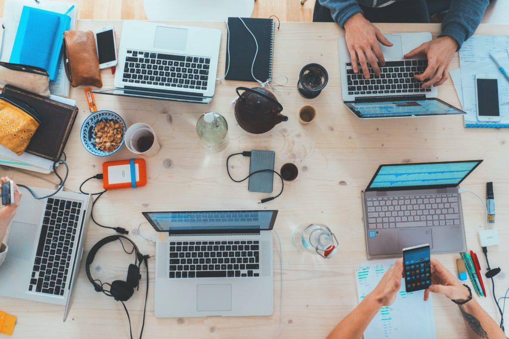 Laptops on a table teamwork