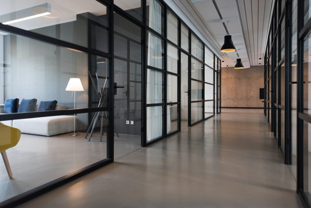 Glass separated office spaces