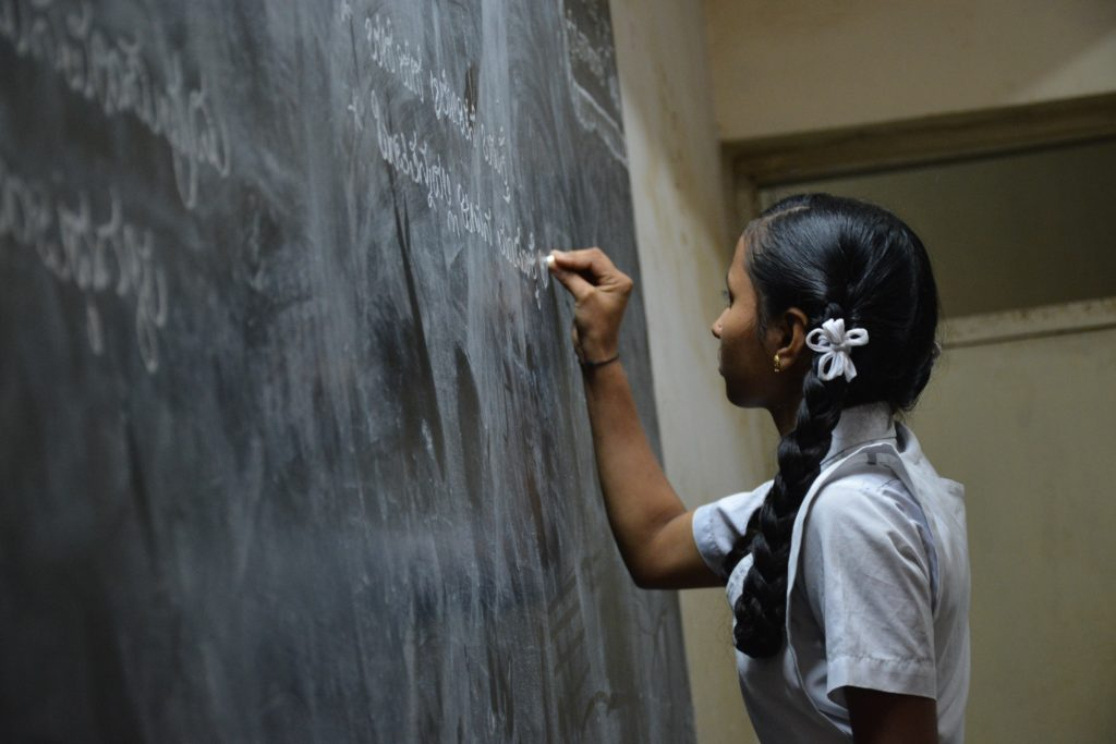 Girl studying in India