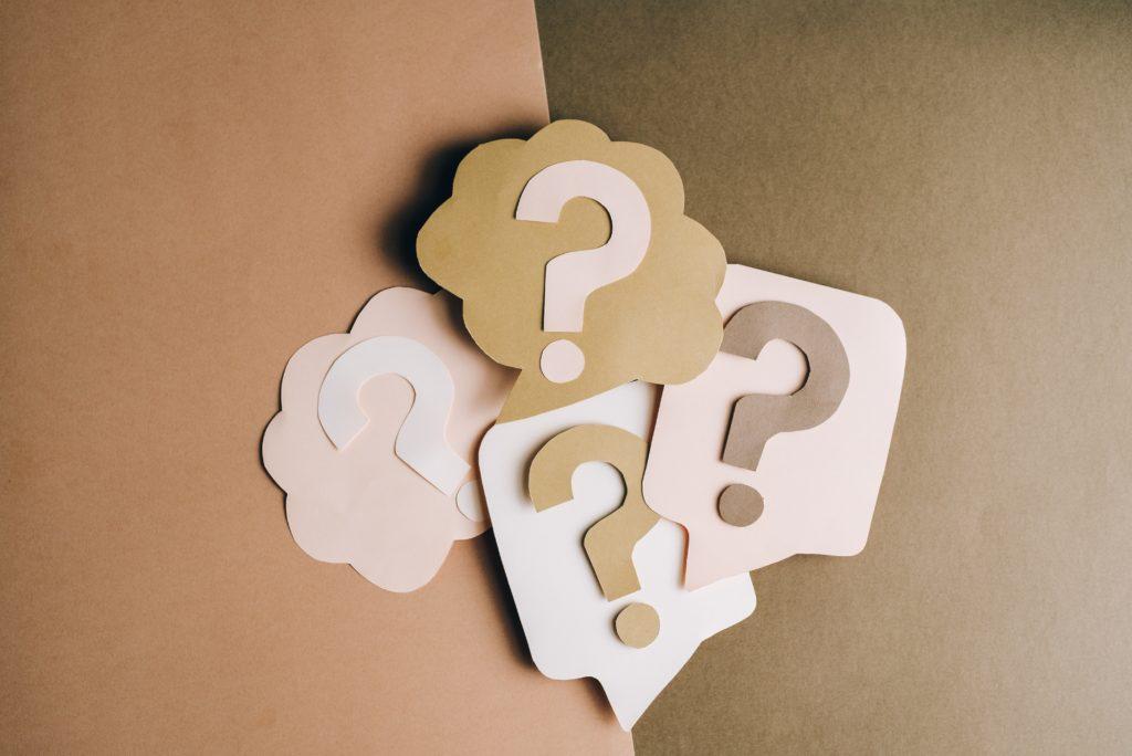 Question mark paper cutouts