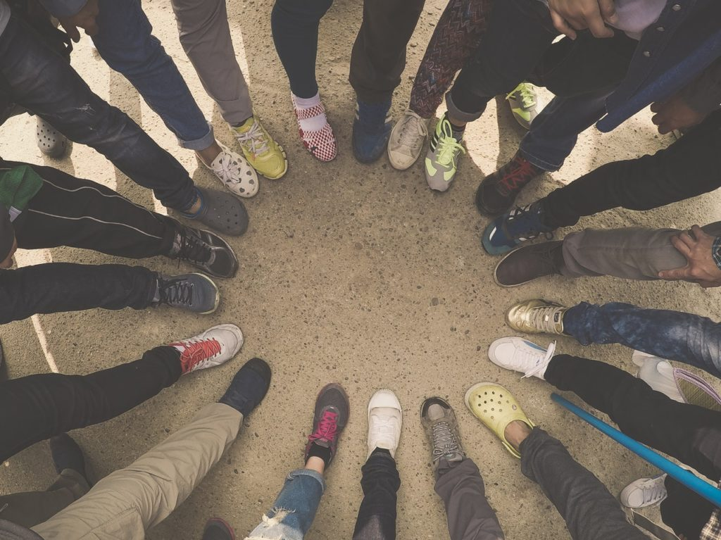Shoes together in a circle