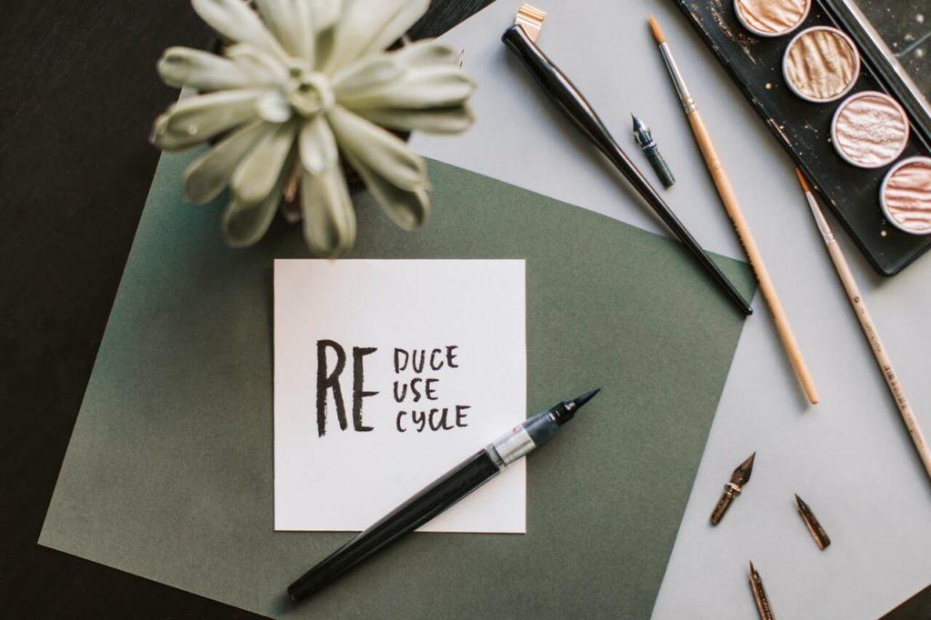 Reduce, reuse, recycle handwriting