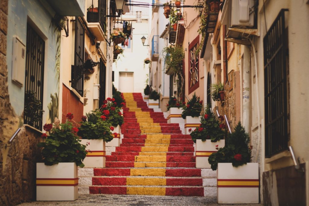 Spanish flag on stairs