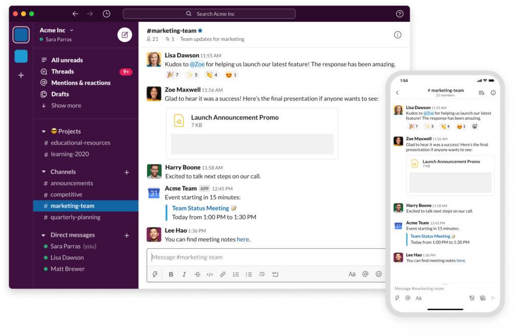 Slack platform screenshot