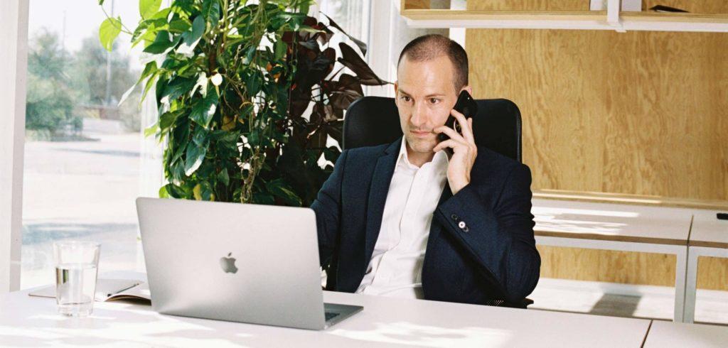 Professional talking on phone