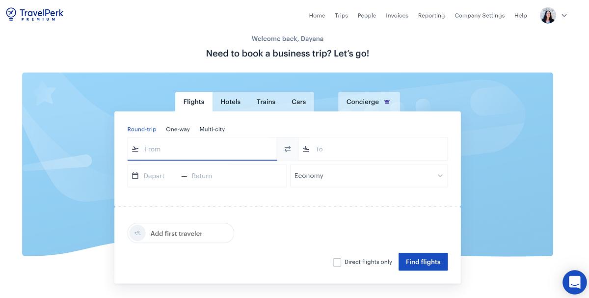 Business trip booking platform