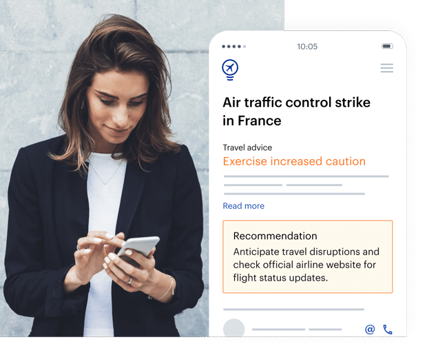 Woman checking safety advice in travel app