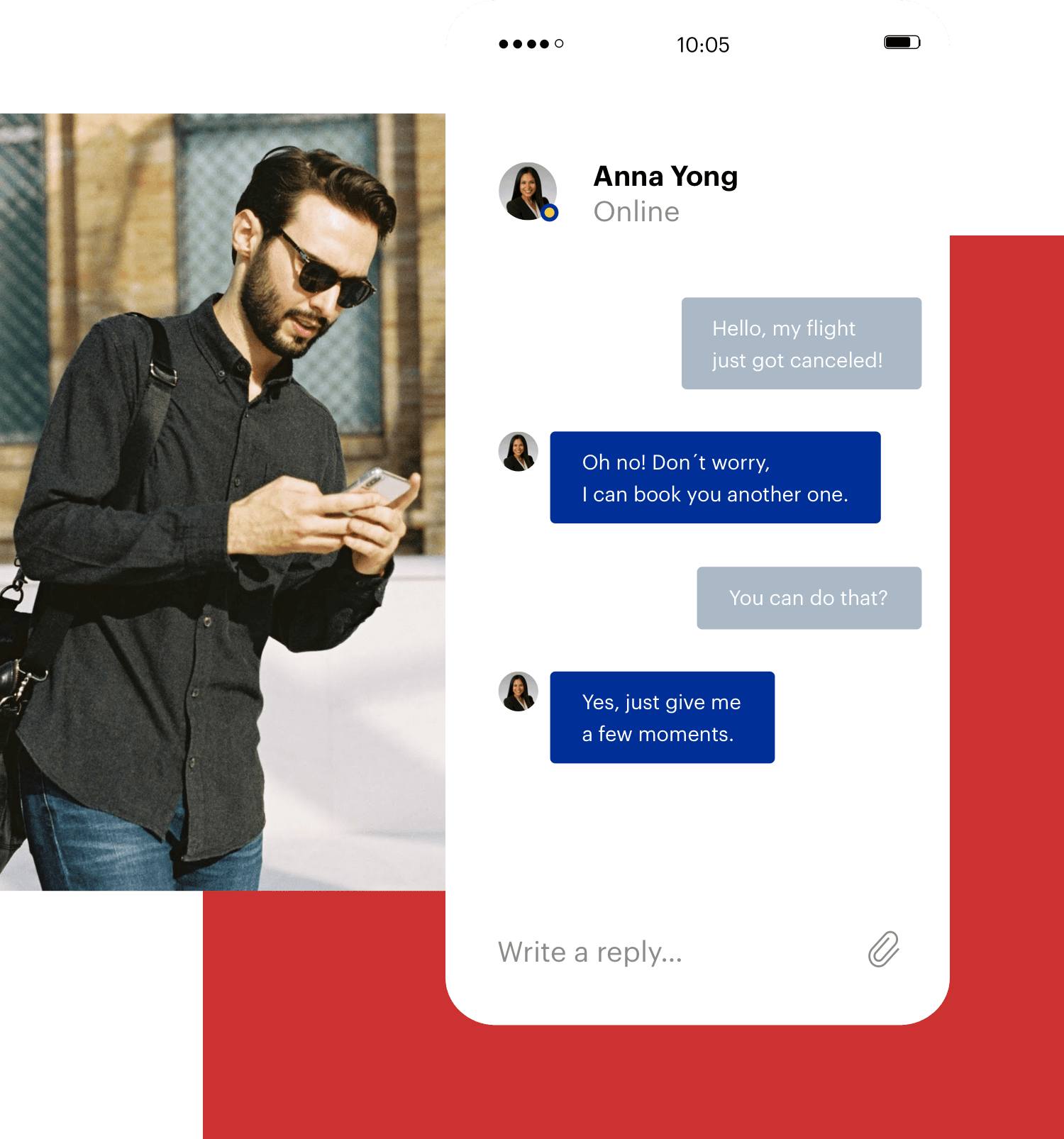 Man using customer care app