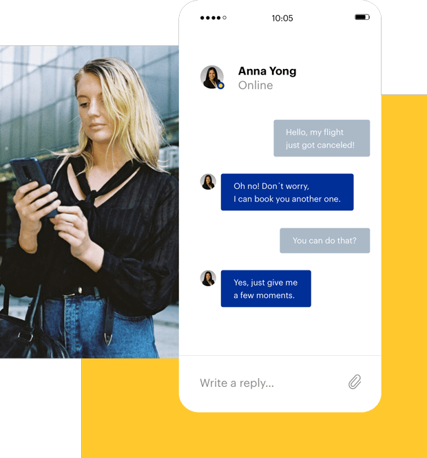 Woman using business travel app